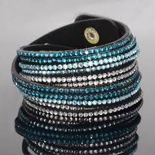 leather rhinestone bracelet images Stylish leather wrap wristband cuff punk crystal rhinestone jpg
