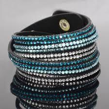 leather rhinestone bracelet images Stylish leather wrap wristband cuff punk crystal rhinestone jpg