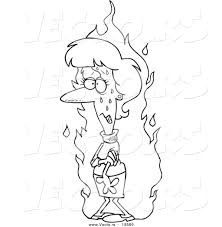 vector cartoon woman experiencing flash outlined