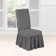 dining room chair covers sure fit essential twill dining room chair slipcover smoke gray