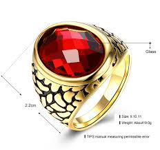 big old rings images Punk stainless steel red men ring gold old plated big red stone jpg