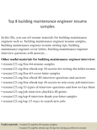 Sample Resume Maintenance Technician by Download Building Maintenance Engineer Sample Resume