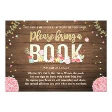 baby shower bring book instead of card books for baby floral bring a book insert card zazzle