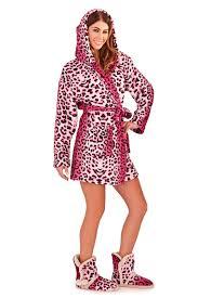 womens short hooded dressing gown bath robe housecoat belt