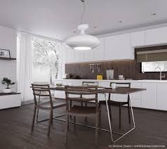Modern Kitchen Island Chairs Kitchen White Marble Countertop Black Wooden Chairs Cream Tile