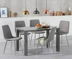 atlanta 120cm dark grey high gloss dining table with helsinki