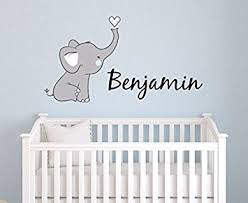Boys Nursery Wall Decals Boys Nursery Elephant Custom Personalized Name Wall