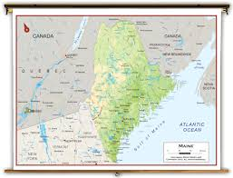 Map Maine Maine State Physical Classroom Map From Academia Maps