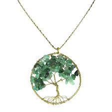 turquoise stone necklace amazon com green quartz stone eternal tree of life brass beads