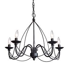 Black Iron Chandeliers Shop Artcraft Lighting Wrought Iron 24 In 5 Light Black