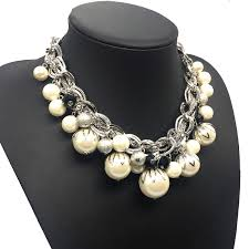 big pearl choker necklace images Silver color abs big pearl necklace chokers statement jewelry jpg