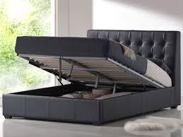 King Platform Bed Frame Furniture Contemporary Black Leather King Platform Bed With
