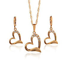 aliexpress heart necklace images Aliexpress sale 14k gold plated bridal jewelry sets wedding jpg