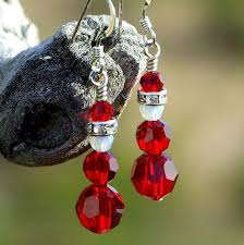 christmas earrings santa christmas earrings handmade swarovski