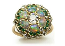 antique opal diamond and emerald cluster ring