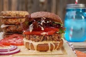 simple bean burgers with paprika garlic sauce vegan gluten free