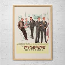 martini and rossi poster ivy league fashion ad retro mad men ad mid century poster