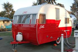 1965 shasta compact travel trailer bright red color the big