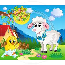 cartoon scene with spring season theme by clairev toon vectors