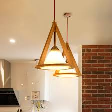 Wood Pendant Light Fixture Nordic Wood Cone Droplight Modern Oak Glass Pendant Light Fixture