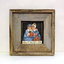 thanksgiving folk pilgrims framed in rustic barn wood tole