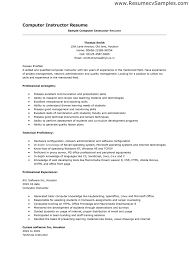 Instructor Resume Samples by Resume Samples Skills Resume Format 2017