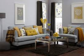 Curtains For Yellow Living Room Decor Gray Sectional Sofas Plus Yellow Cuhsion And Yellow Fabric With