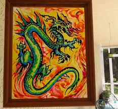 painting on glass windows sun catcher original art dragon glass painting window art