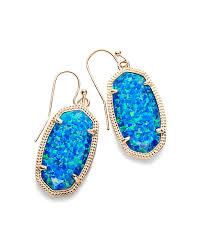 blue earrings gold drop earrings in royal blue opal kendra
