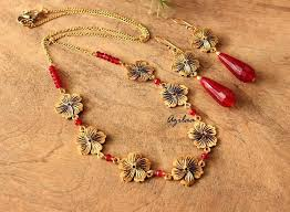 flower necklace designs images Golden flower necklace and earrings set at 2150 azilaa jpg