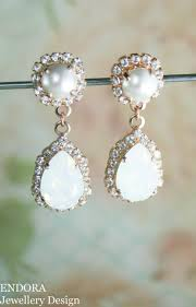 white opal crystal swarovski earrings white opal earrings bridal earrings rose gold