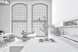 Black And White Kitchen Interior by Stark Pure White Monochrome Kitchen Interior With Fitted Cabinets