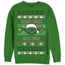 Ugly Green Star Wars Men U0027s Ugly Christmas Sweater Yoda Silent Night Sweatshirt