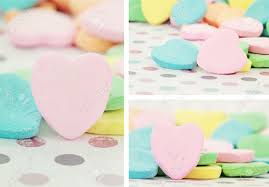 s day heart candy collage of s day heart shaped candy with selective