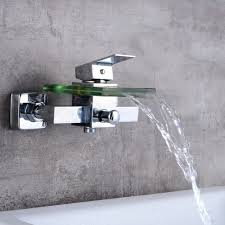 bathtub faucet wall mount free shipping brass and glass faucet waterfall bathtub faucet wall