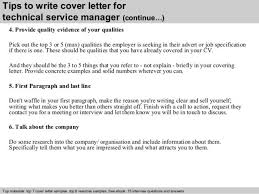 technical services manager cover letter