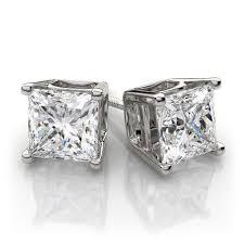 diamond ear studs princess cut diamond stud earrings in platinum