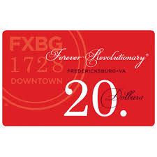 20 dollar gift card fredericksburg downtown 20 dollar gift card