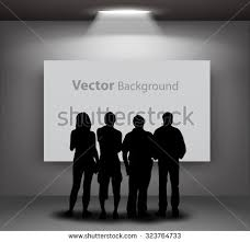 silhouettes looking on empty gallery stock vector 138256904