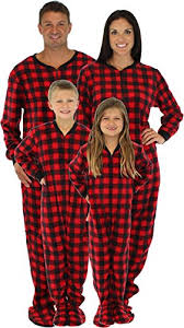 sleepytimepjs family matching plaid fleece onesie pjs footed