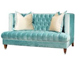 High Back Tufted Loveseat Blue Tufted Fabric High Back Sofa