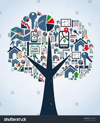 real estate icon set tree symbol stock vector 101982064