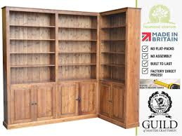 corner bookcase solid pine or oak 8ft corner bookcase with cupboards made to