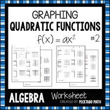 graphing quadratic functions f x u003dax 2 algebra worksheet by