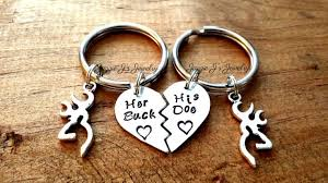 Buck And Doe Couples Necklace Her Buck His Doe Hand Stamped Keychains With Deer Charm His