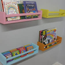Childrens Wall Bookshelf Cool Wall Bookshelves Design Feature 3 Colorful Stained Wooden