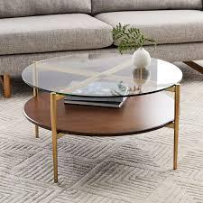glass metal coffee table west elm