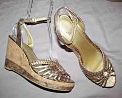 funky distressed gold cork strappy platform wedge sandal impo 8 5