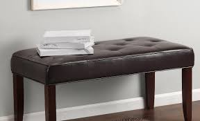 Red Entryway Bench by Dauwtrappen Leather Bench With Back Tags Leather Entryway Bench