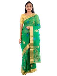Buy Green Plain Cotton Silk The Chennai Silks Silk Cotton Saree Green Ccm 121 Amazon